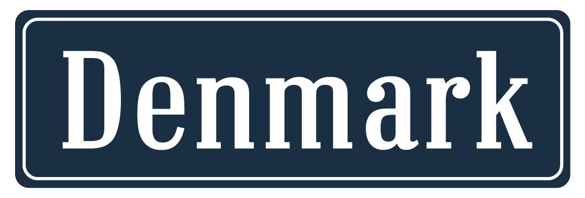 Aufkleber Straßenschild Dänemark