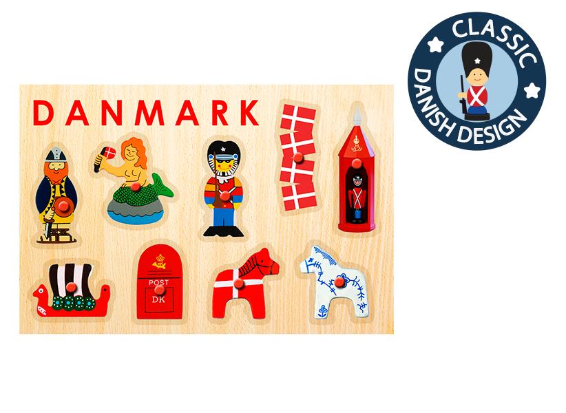 Steckpuzzle Dänemark 9-teilig aus Holz