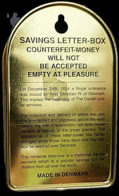 Spardose Dänischer Postkasten + Dänische Münze