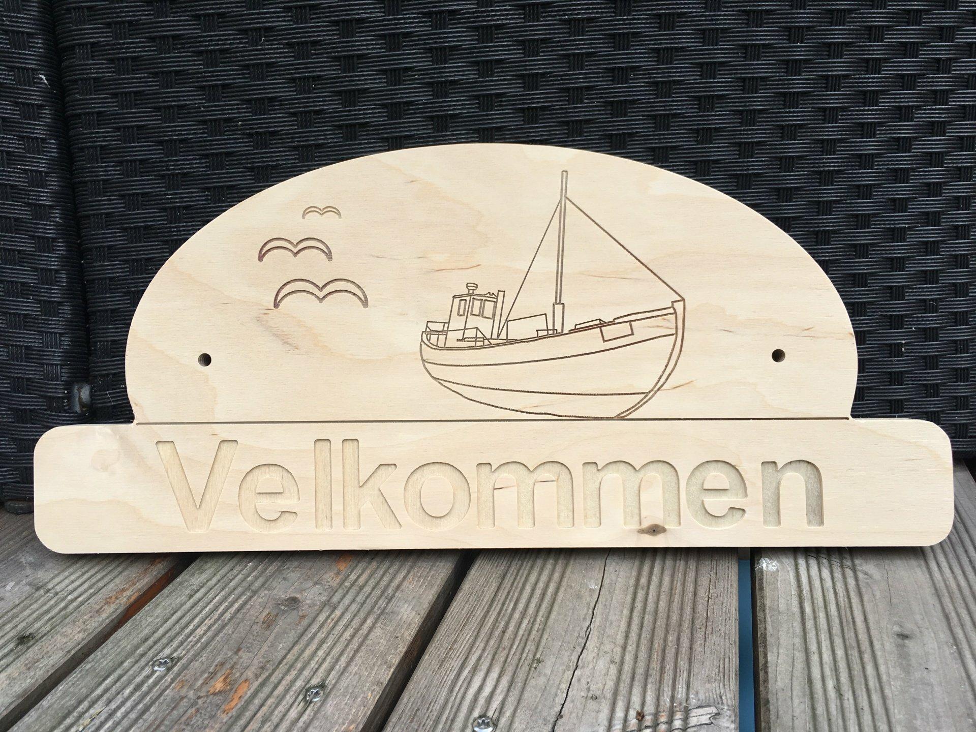 Velkommen Schild Fischerboot