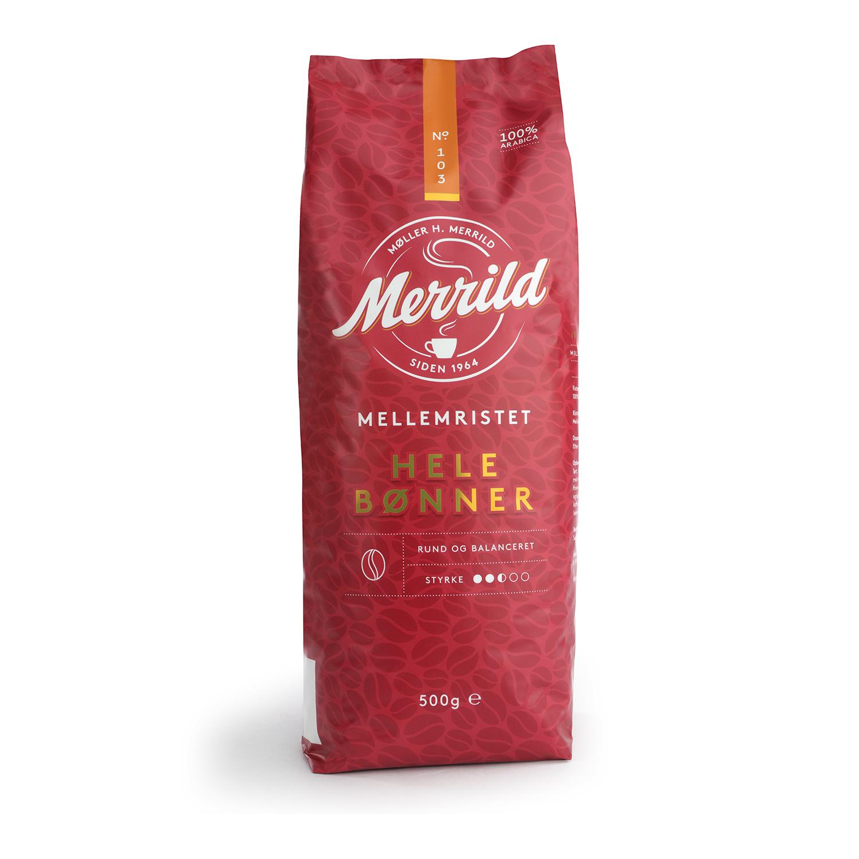Merrild 103 Mellemristet Kaffeebohnen 500g