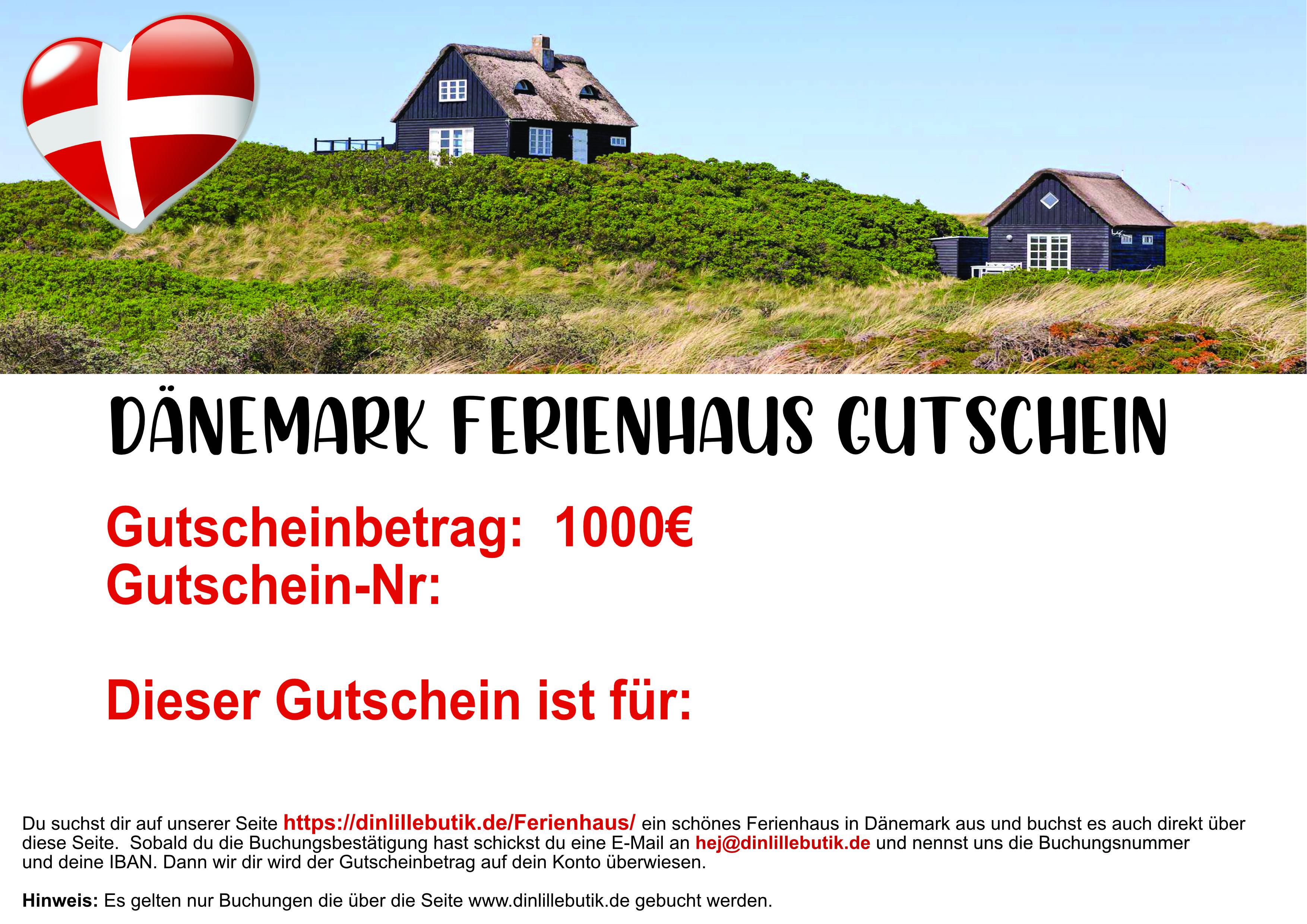 Dänemark Ferienhausgutschein 1000 Euro