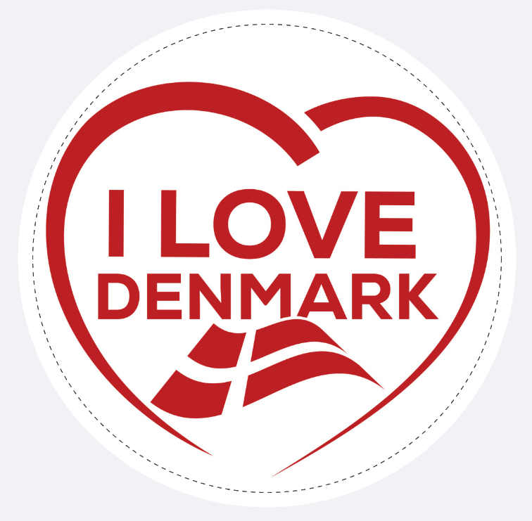 """Aufkleber """" I LOVE DENMARK"""""""