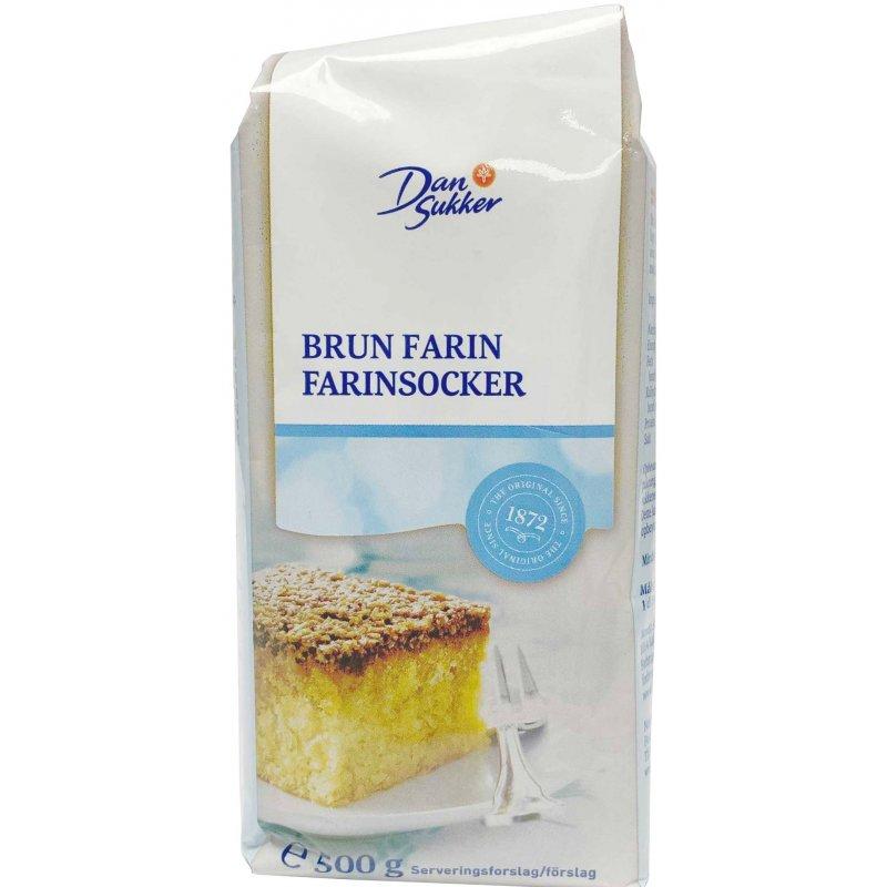Dan Sukker Farin Brun 500g